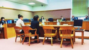 Attorney Jacqueline Swanson (right) and client Brenda Tracy (left) testify on behalf of victims' rights in Oregon.